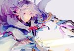 1boy ahoge bangs bishounen center_frills eyebrows eyebrows_visible_through_hair fate/grand_order fate_(series) flower_knot hair_between_eyes hair_ornament holding holding_staff holding_weapon hood hood_down hooded_robe long_hair long_sleeves looking_at_viewer male_focus merlin_(fate) multicolored_hair ootzoo pink_ribbon ribbon robe simple_background smile solo staff sword tassel turtleneck two-tone_hair upper_body very_long_hair violet_eyes weapon white_background white_hair white_robe wide_sleeves