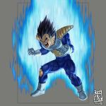 1boy armor aura black_eyes black_hair bodysuit broken broken_armor clenched_hands crack dated dragon_ball dragon_ball_(classic) gloves grey_background ikeda_(cpt) male_focus muscle open_mouth saiyan_armor screaming simple_background solo spiky_hair teeth tight tongue torn_clothes torn_legwear vegeta veins white_footwear white_gloves
