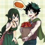 ! 1boy 1girl :d alternate_costume apple apple_pie asui_tsuyu basket belt black_eyes blush boku_no_hero_academia breasts brown_belt brown_vest cape commentary_request dress food freckles fruit green_cape green_dress green_eyes green_hair green_pants hair_between_eyes hair_rings knife leaning_forward long_hair medium_breasts midoriya_izuku no_pupils open_mouth pants pie plaid plaid_background rb_(kaeaura) sheath sheathed shirt smile speech_bubble spoken_exclamation_mark spoken_food very_long_hair vest white_shirt
