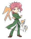 1boy brown_footwear chibi closed_mouth coat crossed_arms earrings green_coat green_pants hair_intakes index_finger_raised jewelry jojo_no_kimyou_na_bouken kakyouin_noriaki long_sleeves looking_at_viewer male_focus mechakucha pants pink_hair shiny shiny_hair simple_background smile solo stardust_crusaders violet_eyes white_background