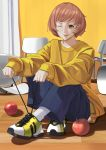 1girl :p absurdres brown_eyes brown_hair haerge highres looking_at_viewer one_eye_closed persona persona_4 satonaka_chie shoelaces shoes short_hair smile solo tongue tongue_out tying_shoes