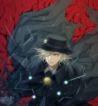 1boy aura black_cape black_headwear black_jacket cape collared_shirt commentary_request edmond_dantes_(fate/grand_order) electricity fate/grand_order fate_(series) formal gloves hat jacket light_smile long_sleeves looking_at_viewer male_focus medium_hair neko_k456 one_eye_covered parted_lips red_background shirt silver_hair simple_background smile solo suit upper_body white_gloves white_shirt wing_collar yellow_eyes
