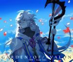 1boy ahoge ays1071 bangs bishounen center_frills clouds copyright_name fate/grand_order fate_(series) flower flower_knot hair_between_eyes hair_ornament holding holding_staff holding_weapon hood hood_down hooded_robe long_hair long_sleeves looking_to_the_side male_focus merlin_(fate) multicolored_hair petals pink_ribbon ribbon robe sky solo staff tassel turtleneck two-tone_hair upper_body very_long_hair violet_eyes weapon white_hair white_robe wide_sleeves