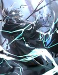 1boy aura black_gloves cape collared_jacket edmond_dantes_(fate/grand_order) electricity fate/grand_order fate_(series) formal gloves green_cape green_headwear green_jacket hat jacket long_sleeves looking_to_the_side male_focus medium_hair otsumami_(bu-bu-heaven) silver_hair solo suit wing_collar yellow_eyes