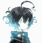 1boy ahoge black_hair closed_mouth commentary_request expressionless extraspiky hair_between_eyes highres horizontal_pupils looking_at_viewer male_focus original short_hair simple_background solo upper_body