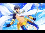 1boy abs ahoge black_gloves brown_hair cape clouds dark_skin dark_skinned_male egyptian egyptian_clothes expressionless fate/grand_order fate/prototype fate/prototype:_fragments_of_blue_and_silver fate_(series) gauntlets gloves gpnet hair_between_eyes highres holding holding_staff jewelry looking_at_viewer male_focus muscle necklace ozymandias_(fate) shirtless shrug_(clothing) sky solo staff white_cape yellow_eyes