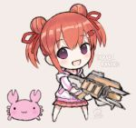 1girl :d animal apex_legends bangs brown_hair capriccio chibi commentary_request copyright_request crab dated double_bun eyebrows_visible_through_hair full_body gun hair_between_eyes hair_ornament hair_ribbon hairclip holding holding_gun holding_weapon jacket long_sleeves looking_at_viewer open_mouth pink_footwear pleated_skirt red_ribbon red_skirt ribbon shoes sidelocks signature skirt smile solo standing twintails violet_eyes virtual_youtuber weapon white_jacket