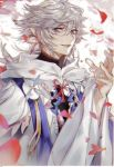 1boy ahoge bangs bishounen center_frills eyebrows eyebrows_visible_through_hair fate/grand_order fate_(series) flower flower_knot hair_between_eyes hair_ornament hood hood_down hooded_robe long_hair long_sleeves looking_at_viewer male_focus merlin_(fate) mina_(1532) multicolored_hair open_mouth petals pink_ribbon ribbon robe simple_background solo tassel turtleneck two-tone_hair upper_body very_long_hair violet_eyes white_background white_hair white_robe wide_sleeves