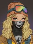 1girl absurdres artist_name beanie black_bodysuit blonde_hair bodysuit brown_background brown_jacket commentary fangs goggles goggles_on_head gradient gradient_background grey_background grey_eyes hat highres jacket long_hair looking_at_viewer mask mouth_mask original print_bodysuit shellvi skull_print solo upper_body wavy_hair