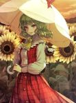 1girl breasts clouds cowboy_shot field flower flower_field garden_of_the_sun green_hair holding holding_umbrella kazami_yuuka long_sleeves looking_at_viewer medium_breasts open_mouth outdoors plaid plaid_skirt plaid_vest red_eyes red_skirt red_vest shirt skirt smile solo sunflower syuri22 touhou umbrella vest white_shirt white_umbrella yellow_neckwear