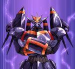 crossed_arms gunbuster gunbuster_pose hamuten_(hmltzero) highres lightning_bolt looking_at_viewer mecha no_humans one-eyed solo super_robot top_wo_nerae! violet_eyes