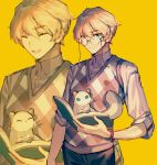 1boy ^_^ animal blonde_hair blue_eyes book closed_eyes closed_mouth collared_shirt ferret glasses hiyamaru holding holding_book holostars kishido_temma looking_at_viewer male_focus mebaru multiple_views open_mouth shirt short_hair simple_background smile standing tail vest virtual_youtuber watch watch yellow_background