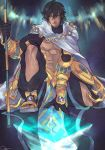 1boy abs ahoge artist_name black_gloves brown_hair cape dark_skin dark_skinned_male egyptian egyptian_clothes fate/grand_order fate/prototype fate/prototype:_fragments_of_blue_and_silver fate_(series) full_body gauntlets gloves hair_between_eyes holding holding_staff jewelry looking_at_viewer male_focus muscle necklace orenjimaru ozymandias_(fate) shirtless shrug_(clothing) signature sitting solo staff twitter_username white_cape yellow_eyes