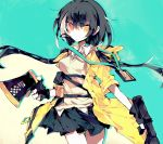 1girl aqua_background beige_vest black_gloves black_hair black_skirt commentary_request cowboy_shot eyebrows_visible_through_hair fingerless_gloves girls_frontline gloves gun headset heterochromia highres holding holding_gun holding_megaphone holding_weapon hood hood_down lanyard long_hair looking_to_the_side megaphone meto_(metrin) multicolored_hair name_tag orange_eyes pleated_skirt ro635 ro635_(girls_frontline) short_sleeves skirt solo submachine_gun twintails two-tone_hair very_long_hair weapon white_hair wing_collar yellow_eyes yellow_hoodie