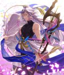 1boy ahoge bangs bare_shoulders bishounen black_pants black_shirt clothes_removed fate/grand_order fate_(series) flower hair_between_eyes hair_ornament holding holding_staff holding_weapon long_hair looking_at_viewer male_focus merlin_(fate) multicolored_hair pants parted_lips petals ribbon robe shirt solo staff two-tone_hair undressing very_long_hair violet_eyes weapon white_hair white_robe yahako
