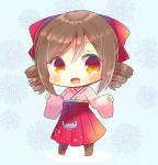 1girl :d anchor bangs blue_background blush bow brown_hair brown_legwear chibi commentary_request drill_hair eyebrows_visible_through_hair floral_background full_body hair_between_eyes hair_bow hakama hands_up harukaze_(kantai_collection) japanese_clothes kantai_collection kimono kouu_hiyoyo long_sleeves looking_at_viewer meiji_schoolgirl_uniform open_mouth pantyhose pinching_sleeves pink_kimono red_bow red_eyes red_hakama shadow sleeves_past_wrists smile solo standing swept_bangs twin_drills twitter_username wide_sleeves