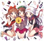 3girls bangs beanie bike_shorts black_hair black_legwear black_shirt blush boots bottle breasts brown_eyes brown_hair cardigan commentary_request dress eyebrows_visible_through_hair eyelashes fanny_pack green_headwear grey_cardigan haruka_(pokemon) hat hikari_(pokemon) holding lipstick_tube long_hair long_sleeves makeup_brush multiple_girls open_mouth pink_dress pink_footwear pokemon pokemon_(game) pokemon_dppt pokemon_oras pokemon_swsh scarf shirt short_hair shorts sleeveless sleeveless_shirt smile socks sweatdrop tam_o'_shanter teeth tobari_(brokenxxx) tongue wavy_mouth yuuri_(pokemon)