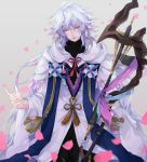 1boy ahoge bangs bishounen black_pants center_frills eyebrows eyebrows_visible_through_hair fate/grand_order fate_(series) flower flower_knot grey_background hair_between_eyes hair_ornament highres holding holding_staff holding_weapon hood hood_down hooded_robe light_smile long_hair long_sleeves male_focus merlin_(fate) multicolored_hair pants parted_lips petals pink_ribbon ribbon robe simple_background smile solo staff tassel toalke_knell turtleneck two-tone_hair very_long_hair violet_eyes weapon white_hair white_robe wide_sleeves