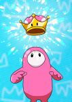 1other absurdres aqua_background arms_at_sides english_commentary fall_guy fall_guys glitter highres looking_up mario_(series) new_super_mario_bros._u_deluxe no_humans no_mouth other_focus pink_suit ravenide shiny solo super_crown |_|