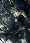 1boy aura black_cape black_headwear black_jacket black_pants cape collared_shirt edmond_dantes_(fate/grand_order) electricity fate/grand_order fate_(series) formal gloves hat jacket long_sleeves looking_at_viewer male_focus medium_hair noes open_mouth pants shirt silver_hair solo suit white_gloves white_shirt wing_collar yellow_eyes