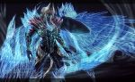 1boy artist_name blue_eyes claws commentary darklitria demon demon_wings devil_bringer devil_may_cry devil_may_cry_5 devil_trigger energy_wings english_commentary fangs fingernails glowing glowing_eyes glowing_wings head_wings highres horns long_fingernails male_focus multiple_wings nero_(devil_may_cry) signature silver_hair sin_devil_trigger solo white_hair wings