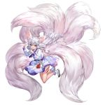 1girl amulet animal_ears aqua_eyes bare_legs boots facial_mark floating_hair fox_ears fox_girl fox_tail full_body hands_up japanese_clothes king's_raid kyuubi large_tail leg_tattoo legs_up long_hair long_sleeves looking_at_viewer miko multiple_tails official_art shirt skirt solo tail tassel tattoo tongue tongue_out transparent_background very_long_hair viska_(king's_raid) white_footwear white_hair white_shirt white_skirt