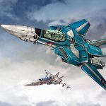aircraft airplane choujikuu_yousai_macross chrome_gear clouds emblem fighter_jet flying highres jet macross maximilian_jenius mecha military military_vehicle oldschool robotech sky variable_fighter vehicle_focus vf-1
