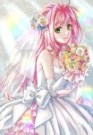 1girl akira_ituki bouquet dress flower green_eyes long_hair looking_at_viewer macross macross_7 mylene_jenius pink_hair solo veil wedding_dress white_dress