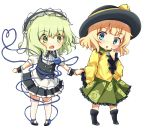 2girls arms_up bangs black_footwear black_headwear black_skirt black_vest blonde_hair blue_eyes blush boots chibi cosplay costume_switch crossover eyebrows_visible_through_hair finger_to_face fleur_de_lapin_uniform floral_print frilled_sleeves frills gochuumon_wa_usagi_desu_ka? green_eyes green_hair green_skirt hairband hat heart heart_of_string highres holding_hands kirima_sharo kirima_sharo_(cosplay) komeiji_koishi komeiji_koishi_(cosplay) lolita_hairband long_sleeves looking_at_another looking_at_viewer multiple_girls petticoat puffy_short_sleeves puffy_sleeves rose_print sachisudesu shirt short_sleeves skirt thigh-highs third_eye touhou vest white_legwear white_shirt wide_sleeves wrist_cuffs yellow_shirt zettai_ryouiki