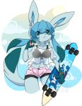 1girl :< animal_ears animal_nose artist_name blue_eyes blue_fur blue_hair clouds commentary_typo contrapposto english_commentary eyebrows_visible_through_hair furry gen_3_pokemon gen_4_pokemon glaceon hair_between_eyes hamsteroftime holding_skateboard kyogre legendary_pokemon long_hair navel pawpads pink_shorts pokemon see-through shorts solo standing sun tail watermark