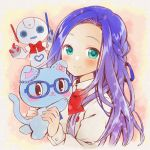 1girl animal blue-framed_eyewear blue_eyes blue_hair blue_ribbon bow braid cat glasses hair_ribbon holding holding_animal holding_cat imai_kotoko kawanobe looking_at_viewer mewkledreamy mole mole_under_eye red_bow ribbon robot shirt simple_background upper_body white_shirt