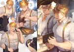 1boy bangs bara blonde_hair blush chest collage cropped glasses granblue_fantasy granblue_fantasy_(style) green_eyes higashigunkan laughing male_focus mirror mirror_image multiple_views muscle necktie one_eye_closed open_mouth pectorals shirt smile suspenders toned toned_male upper_body vane_(granblue_fantasy) watermark white_shirt