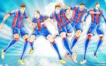 5boys andres_iniesta artist_name captain_tsubasa english_commentary fc_barcelona full_body gerard_pique jersey la_liga lionel_messi luis_suarez multiple_boys neymar official_art real_life soccer_uniform sportswear sunburst sunburst_background takahashi_youichi