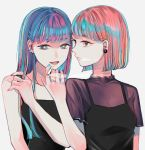 2girls :d absurdres bangs blue_eyes blue_hair blue_nails blunt_bangs blunt_ends breasts brown_hair camisole cigarette ear_piercing earrings hair_ornament hairclip hand_up highres jewelry multiple_girls open_mouth original piercing pink_nails richard_(ri39p) ring short_hair short_sleeves simple_background small_breasts smile smoking upper_body white_background