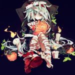 1girl bandaged_head bandaged_leg bandages black_background black_jacket black_shorts blood blood_on_face brown_eyes candle commentary_request fire flame g11_(girls_frontline) girls_frontline hair_between_eyes halloween highres holding_jack-o'-lantern jack-o'-lantern jacket knees_up long_hair looking_to_the_side meto_(metrin) mummy_costume red_footwear shoes shorts single_shoe sitting solo tombstone very_long_hair white_hair
