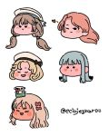 5girls aqua_hair bangs blonde_hair blunt_bangs blush closed_eyes closed_mouth eciujegnaro grecale_(kantai_collection) hair_ribbon hat hatsukaze_(kantai_collection) heart janus_(kantai_collection) kantai_collection light_brown_hair long_hair luigi_di_savoia_duca_degli_abruzzi_(kantai_collection) mikura_(kantai_collection) multiple_girls one_eye_closed open_mouth pink_hair ribbon sailor_hat short_hair simple_background smile tongue tongue_out twintails twitter_username white_background white_headwear