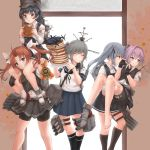 5girls absurdres aircraft airplane arare_(kantai_collection) bike_shorts black_dress black_gloves black_hair black_legwear black_ribbon black_shorts black_skirt black_vest blue_eyes blue_sailor_collar blue_skirt blush brown_eyes brown_hair buttons collared_shirt dress eating eyebrows_visible_through_hair fingerless_gloves food gloves green_ribbon grey_hair grin hair_between_eyes hair_ribbon highres holding holding_food jewelry k_jie kagerou_(kantai_collection) kantai_collection kasumi_(kantai_collection) kneehighs long_hair long_sleeves machinery multiple_girls pancake pinafore_dress pink_hair pleated_skirt ponytail red_ribbon remodel_(kantai_collection) ribbon rigging ring sailor_collar school_uniform serafuku shiranui_(kantai_collection) shirt short_hair short_sleeves shorts shorts_under_skirt side_ponytail skirt smile smokestack thigh-highs toes torn_clothes torn_shirt turret twintails usugumo_(kantai_collection) vest violet_eyes visor_cap wedding_band white_ribbon white_shirt xf5u