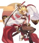 1girl :d absurdres animal_ears arm_up ass backless_outfit bangs bare_shoulders blonde_hair blush braid breasts brown_legwear cradle_(2849) detached_sleeves dog_ears dog_girl dog_tail erune eyebrows_visible_through_hair granblue_fantasy hair_ornament highres holding holding_sword holding_weapon japanese_clothes looking_at_viewer open_mouth pantyhose rope shimenawa short_hair smile solo sword tail vajra_(granblue_fantasy) weapon wide_sleeves