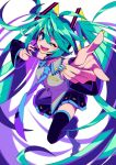 1girl absurdres aqua_hair black_skirt blue_eyes blue_nails blue_neckwear detached_sleeves floating_hair hatsune_miku headset highres kuroshirase leg_up looking_up necktie one_eye_closed pointing skirt solo twintails vocaloid