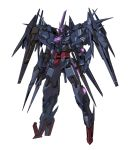 00_raiser absurdres beam_rifle cunkou_mangren dark_persona energy_gun fusion gn_drive gundam gundam_00 gundam_00_sky gundam_build_divers highres looking_down mecha no_humans solo standing v-fin violet_eyes weapon white_background