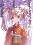 1girl artist_name blonde_hair bow brown_eyes cat_hair_ornament commentary_request danganronpa eyebrows_visible_through_hair flower hair_between_eyes hair_ornament japanese_clothes kimono long_hair long_sleeves looking_at_viewer orange_kimono saionji_hiyoko smile solo super_danganronpa_2 translation_request twintails wide_sleeves wisteria z-epto_(chat-noir86)
