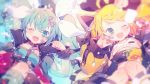 2girls ;d aqua_eyes aqua_hair black_bow blonde_hair blue_nails blurry bow choker clenched_hand commentary_request crop_top fang hair_bow hair_ornament hairclip hatsune_miku heart heart_hair_ornament highres jacket jewelry kagamine_rin kneehighs long_hair long_sleeves looking_at_viewer multiple_girls nail_art one_eye_closed open_clothes open_jacket open_mouth pendant see-through_sleeves short_hair sitting skin_fang smile twintails vocaloid white_bow yumenouchi_chiharu