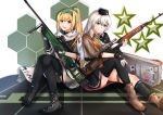 2girls absurdres assault_rifle black_footwear black_gloves black_headwear black_legwear black_skirt blonde_hair boots brown_footwear brown_jacket character_name dragunov_svd eyebrows_visible_through_hair fingerless_gloves girls_frontline gloves green_ribbon grey_eyes grey_hair gun hair_ribbon hairband hand_on_weapon hat highres holding holding_weapon huge_filesize jacket long_hair looking_at_viewer military military_hat military_uniform multiple_girls muteppona_hito open_mouth red_eyes ribbon rifle russian_flag shirt silver_hair simple_background sitting sitting_on_floor skirt smile sniper_rifle sv-98 sv-98_(girls_frontline) svd_(girls_frontline) tape thigh-highs uniform weapon weapon_case white_jacket white_shirt