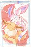 :3 absurdres artist_name blue_border blue_sclera blush border chair closed_eyes closed_mouth commentary_request eevee gen_1_pokemon gen_6_pokemon happy highres looking_at_another navel no_humans one_eye_closed pokemon pokemon_(creature) signature simple_background smile sylveon tamanosuke white_background white_eyes