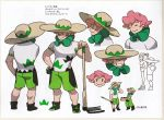 1boy bangs closed_eyes closed_mouth concept_art freckles gloves green_shorts gym_leader hat hoe holding male_focus official_art pink_hair pokemon pokemon_(game) pokemon_swsh rurina_(pokemon) scan shirt shoes shorts single_glove smile teeth translation_request white_shirt yarrow_(pokemon)