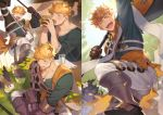 1boy animal bangs bara blonde_hair blush brown_gloves chest clone collage cropped gloves granblue_fantasy granblue_fantasy_(style) green_eyes happy higashigunkan laughing looking_at_viewer male_focus multiple_views muscle open_mouth pectorals shirt smile thick_thighs thighs toned toned_male upper_body vane_(granblue_fantasy) watermark
