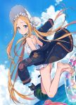 1girl abigail_williams_(fate/grand_order) abigail_williams_(swimsuit_foreigner)_(fate) bangs bare_shoulders barefoot bikini black_cat black_jacket blonde_hair blue_eyes blue_sky blush bonnet bow breasts cat fate/grand_order fate_(series) food forehead fruit hair_bow innertube jacket legs long_hair long_sleeves looking_at_viewer miniskirt nagu ocean off_shoulder open_clothes open_jacket open_mouth parted_bangs sidelocks skirt sky small_breasts swimsuit twintails very_long_hair watermelon white_bikini white_bow white_headwear