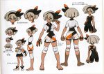 1girl bag bangs barefoot black_bodysuit black_hairband bodysuit bodysuit_under_clothes clenched_hands closed_mouth collared_shirt concept_art eyelashes gloves grey_eyes grey_hair gym_leader hair_between_eyes hairband knee_pads looking_at_viewer mouth_hold multiple_views official_art paper_bag pokemon pokemon_(game) pokemon_swsh print_shorts saitou_(pokemon) scan shirt short_hair short_sleeves shorts single_glove tied_shirt toes translation_request