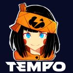 1girl absurdres bangs black_hair blue_background blue_eyes blunt_bangs blush_stickers chloe_(srgrafo) commentary english_commentary english_text face fashion headband highres hood hood_down orange_headband orange_hoodie original outline product_placement short_hair slit_pupils smile solo srgrafo