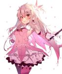1girl ascot bangs bare_shoulders blush breasts cape earrings fate/kaleid_liner_prisma_illya fate_(series) feathers gloves hair_feathers holding holding_wand illyasviel_von_einzbern jewelry kaleidostick long_hair looking_at_viewer magical_girl magical_ruby open_mouth pink_feathers pink_legwear pink_sleeves prisma_illya red_eyes simple_background small_breasts smile soukou_makura sparkle thigh-highs thighs wand white_background white_gloves white_hair yellow_neckwear